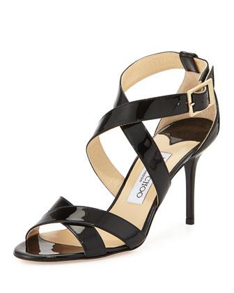 Louise Crisscross Patent Leather Sandal, Black