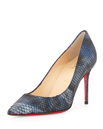 Decollete Metallic Snakeskin Point-Toe Red Sole Pump, Blue