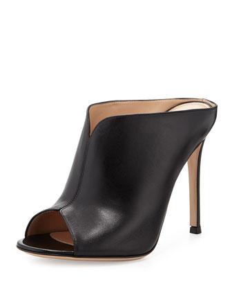 Leather Peep-Toe Mule, Nero