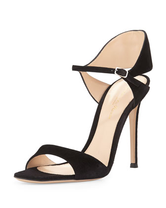 Suede Tapered Ankle-Wrap Sandal, Black
