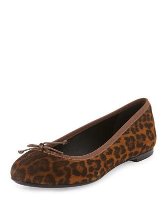 Leopard-Print Calfskin Ballerina Flat