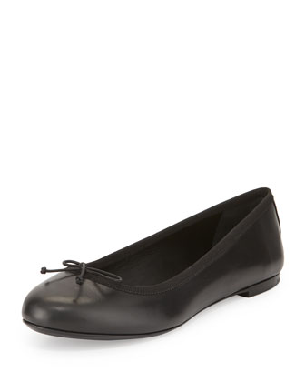 Leather Bow Ballet Flat, Black