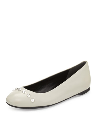 Studded Leather Ballerina Flat, Gray