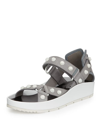 Two-Tone Studded Sandal, Gray