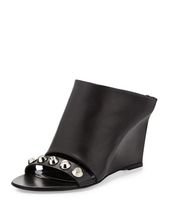 Studded Leather Mule Sandal, Black