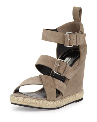 Suede Espadrille Wedge Sandal, Taupe