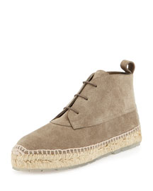 Suede Espadrille Ankle Boot, Taupe