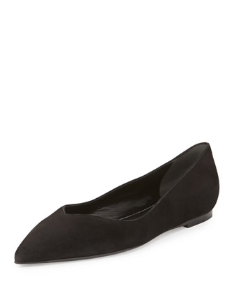 Suede Point-Toe Ballet Flat, Black