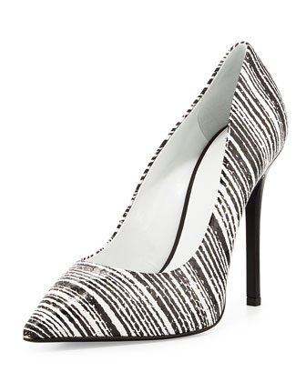 Striped Snake-Embossed Point-Toe Pump, Black/White
