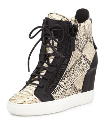 Snake-Embossed Metallic-Painted Wedge Sneaker, Black Pattern