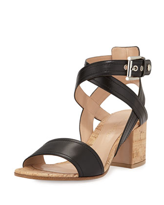 Crisscross Leather & Cork City Sandal, Black