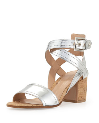 Metallic Crisscross City Sandal, Silver