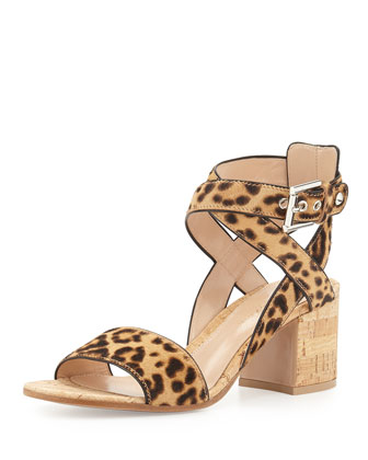 Crisscross Leopard-Print Calf Hair & Cork City Sandal