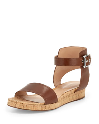 Leather Ankle-Wrap Cork Flatform Sandal, Luggage
