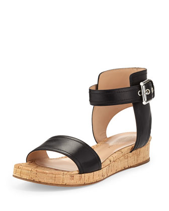 Leather Ankle-Wrap Cork Flatform Sandal, Black