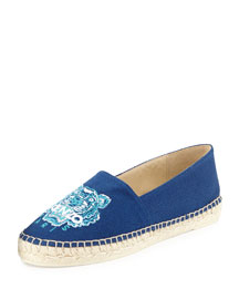 Tiger-Embroidered Canvas Espadrille Flat