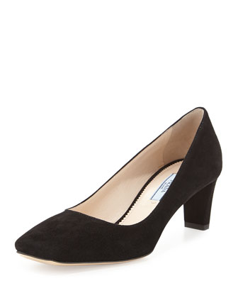 Suede Square-Toe Pump, Black