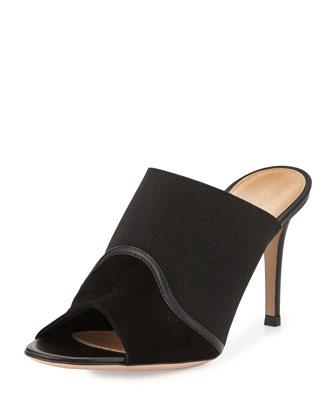 Suede & Stretch Peep-Toe Mule, Black