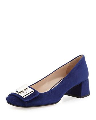 Suede Turnlock Block-Heel Pump, Navy