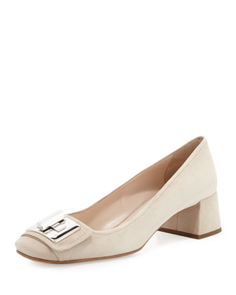 Suede Turnlock Block-Heel Pump, Camel