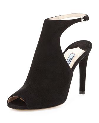 Suede Ankle-Strap Sandal, Black