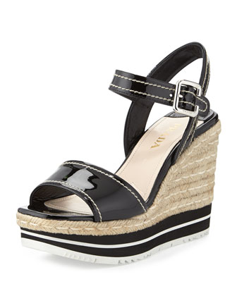 Patent Two-Band Sandal, Black