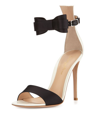 Contrast Bow Ankle-Wrap Sandal, Black/White