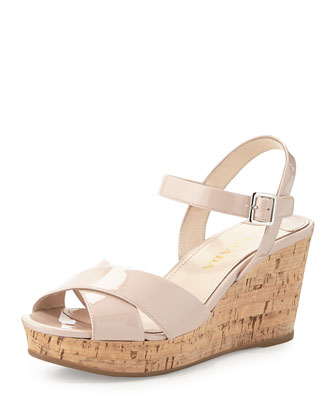 Patent Leather Wedge Sandal, Pink
