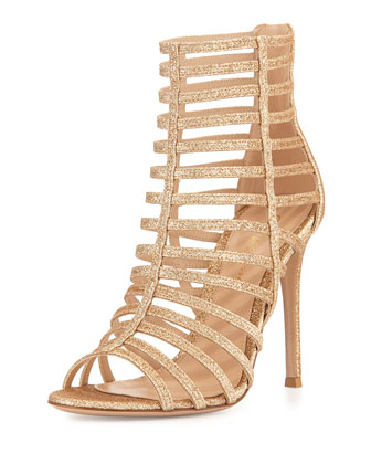 Caged Glitter High-Heel Sandal, Beige