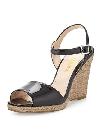 Patent Leather Espadrille Sandal, Black