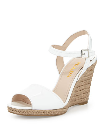 Patent Leather Espadrille Sandal, White
