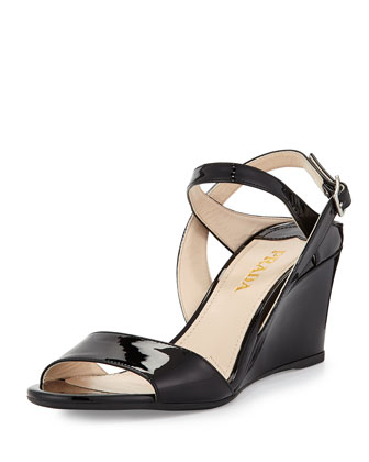 Patent Leather Wedge Sandal, Black