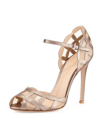 Metallic/Mesh Peep-Toe Sandal, Gold