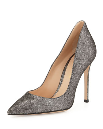 Crackled Metallic Point-Toe Pump, Silver