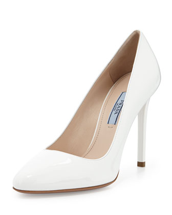 Patent Almond-Toe Pump, White
