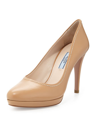 Leather Almond-Toe Pump, Beige
