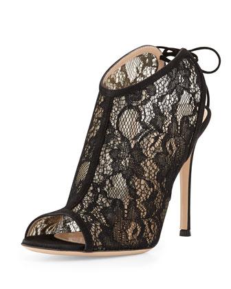Tie-Back Lace Sandal, Black