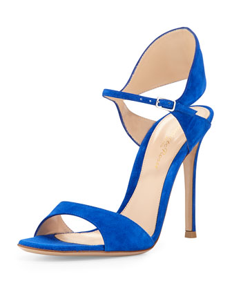 Suede Tapered Ankle-Wrap Sandal, Cobalt