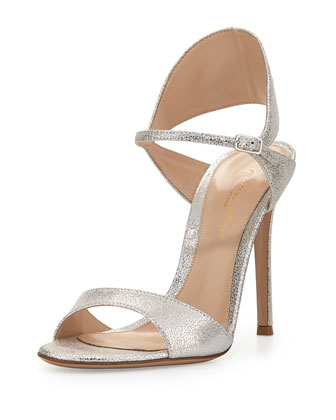 Crackled Metallic Tapered Ankle-Wrap Sandal, Crash Palladium