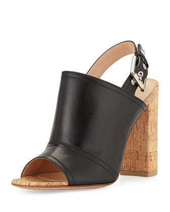 Slingback Leather & Cork Mule, Black