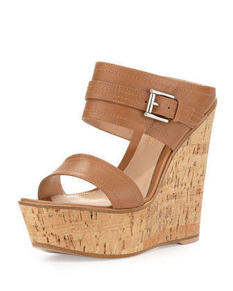 Leather Ankle-Wrap Cork Wedge Mule, Almond