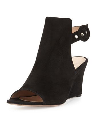 Suede Peep-Toe Ankle-Wrap Wedge, Black