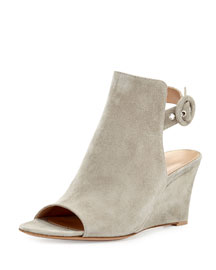 Suede Peep-Toe Ankle-Wrap Wedge, Dust