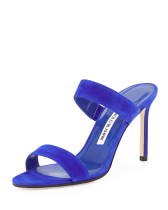 Muluca Suede Double-Band Sandal, Blue