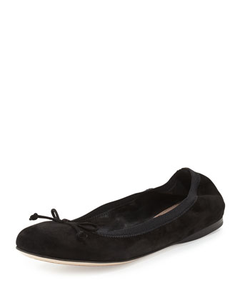 Suede Bow Ballet Flat, Black