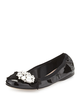 Patent Jeweled-Bow Ballet Flat, Black