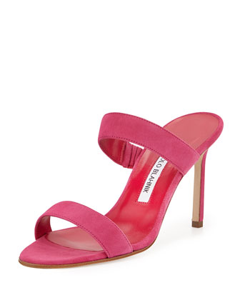 Muluca Double-Band Suede Sandal, Pink