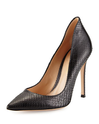 Python Point-Toe Pump, Black