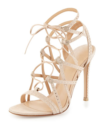 Crystal-Embellished Suede Lace-Up Sandal, Sand