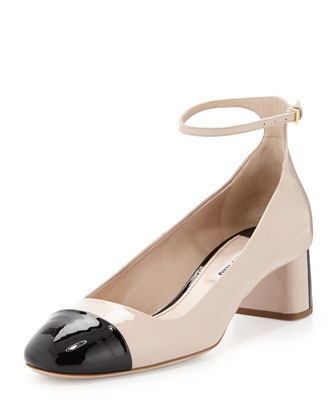 Bicolor Patent Leather Pump, Pink